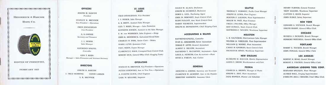 1957 broderick and bascom employee list
